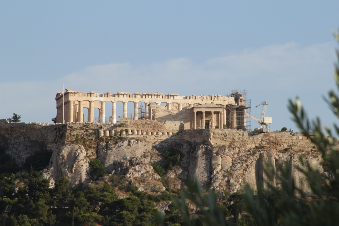 Acropolis & Parthenon from Garden Bar on roof of Hotel Attalos