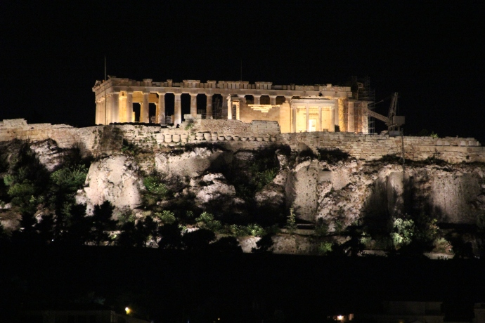 Acropolis & Parthenon at night from Garden Bar on roof of Hotel Attalos