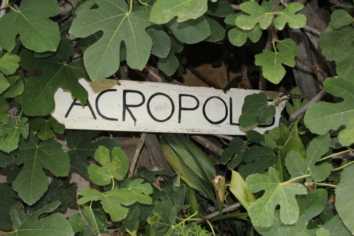 Sign to Acropolis for wayward tourists walking the neighborhood of Anafiotika