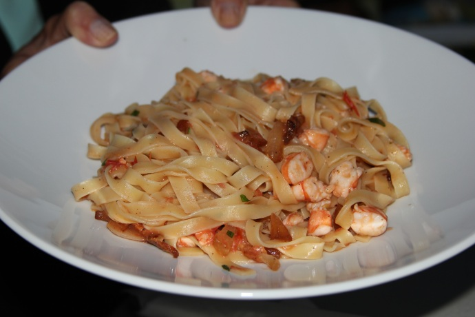 Homemade tagliatelle with shrimp