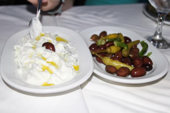Tzatziki and olives
