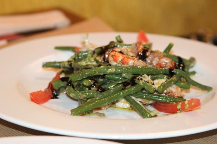 Salade de haricots verts aux écrevisses