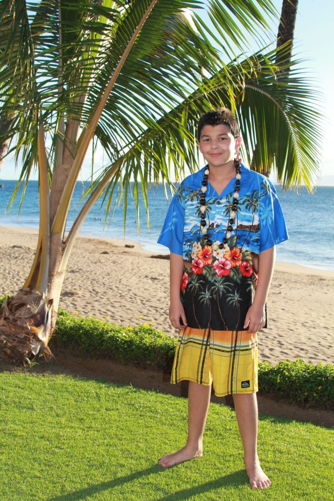 Cody sporting his new Hawaiian shirt