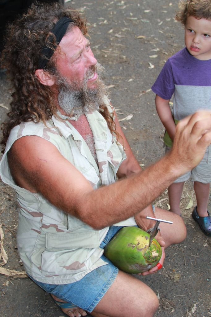 Coconut Cowboy explaining the coconut