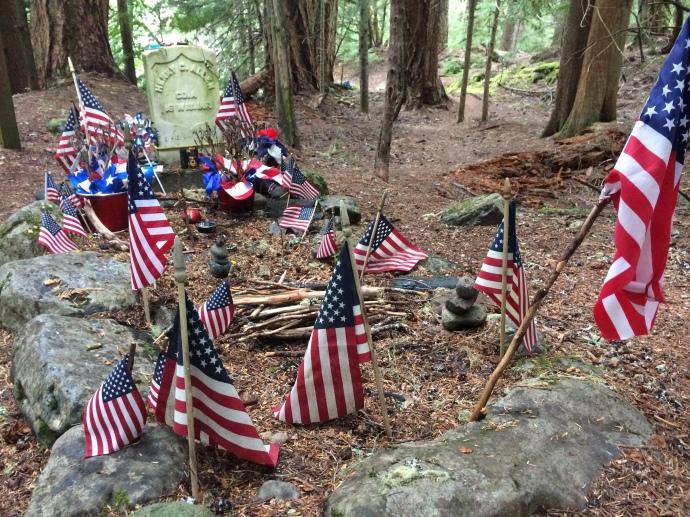 Decorated gravesite