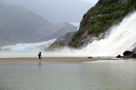 Nugget Falls w/Mendenhall Glacier