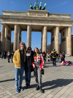 West, Tawny, & Clara in front of Brandenburg Gate